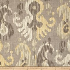 Braemore Journey Putty from @fabricdotcom  Screen-printed on a linen/rayon blend fabric, this versatile medium/heavyweight fabric is perfect for window treatments (draperies, valances, curtains and swags), toss pillows, duvet covers, pillow shams, slipcovers and upholstery. It features a soil and stain resistant finish. Colors include shades of grey, yellow, and cream.