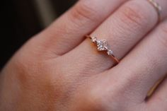 14K Princess Cut Deco Ring, Bezel Setting, Dainty Engagement Ring, Square Setting, Side Diamond Ring, Rose Gold, Yellow Gold