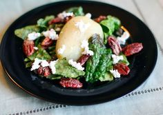 Poached pear and goat cheese salad -- Delicious and visually appealing. This would be great as a starter dish when inviting people over for supper.