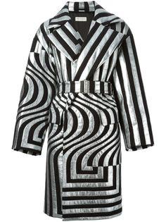 DRIES VAN NOTEN Stripe Panel Belted Coat. #driesvannoten #cloth #long coats