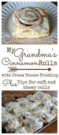 Learn the secrets to a soft and chewy cinnamon roll. These rolls are one of my Grandma's most remembered and desired recipes. Cinnamon rolls smothered with cream cheese frosting! What could be better?! #cinnamonrolls #homemadecinnamonrolls #softandchewycinnamonrolls #cinnamonrollrecipe #creamcheesefrosting