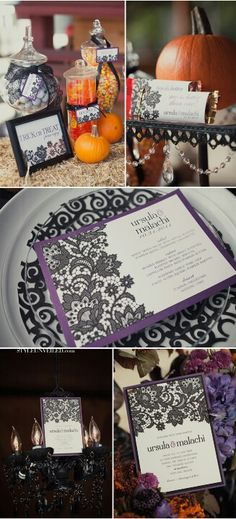Halloween wedding - love the black lace as the accent to everything. I love the idea of a halloween wedding, especially since it's my favorite holiday!