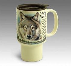 Gray Wolf Stoneware Travel Mug For $14.99