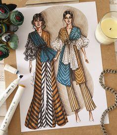 "4,000 mentions J'aime, 115 commentaires - Sveta Leyfman fashion artist (@svetaleyfman) sur Instagram: ""Do you like strips? I'm crazy about them!!! 😁😍…"" Fashion Design Drawings, Fashion Sketches, Fashion Illustration Dresses, Fashion Illustrations, Fashion Drawing Tutorial, Fashion Art, Fashion Outfits, Indian Dresses, Designs To Draw"