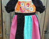 Peasant Twirl Dress - Girls Peasant Dress, Baby Girl Dress, Toddler Girl Dress, Big Girl Dress, Girls Bird Dress, Bird Birthday, Boutique