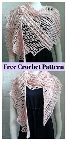 Lizard Shawl Free Crochet Pattern - - Shawls are a great winter fashion accessory for the women. This Lizard Shawl Free Crochet Pattern will let you stay elegant while keeping warm. It is stylish, fashionable and trendy. Crochet Shawl Free, Crochet Shawls And Wraps, Crochet Scarves, Crochet Clothes, Crochet Stitches, Knit Crochet, Crochet Hats, Freeform Crochet, Crochet Dresses