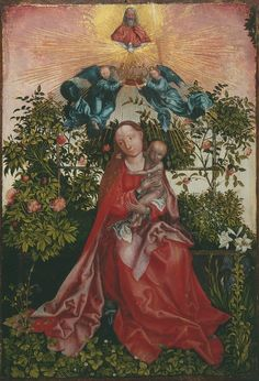 The Madonna and Child in a Rose Arbor, 16th century, Workshop of Martin Schongauer, German, 1450-1491; the lily represent the Virgin's purity; God and the Holy Spirit above.