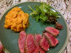 Grilled Striploin served with Garlic Basil Mashed Sweet Potatoes and Greens with Basil-Walnut Dressing Mashed Sweet Potatoes, Wine Recipes, Wines, Basil, Grilling, Garlic, Dressing, Food, Sweet Potato Mash