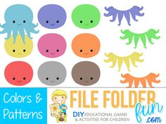 Download Game Game Play:  Choose an octopus head and find the correct body to match! Game Assembly: Mount the bodies to the file folder. Cut out the heads for playing pieces.  Mount title page on f...