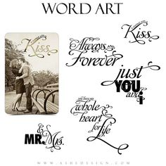 Love Word Art Quotes Photo Overlays for Scrapbooking JUST