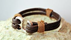 Men bracelet leather men bracelet Men's leather by FosforStore, $25.00