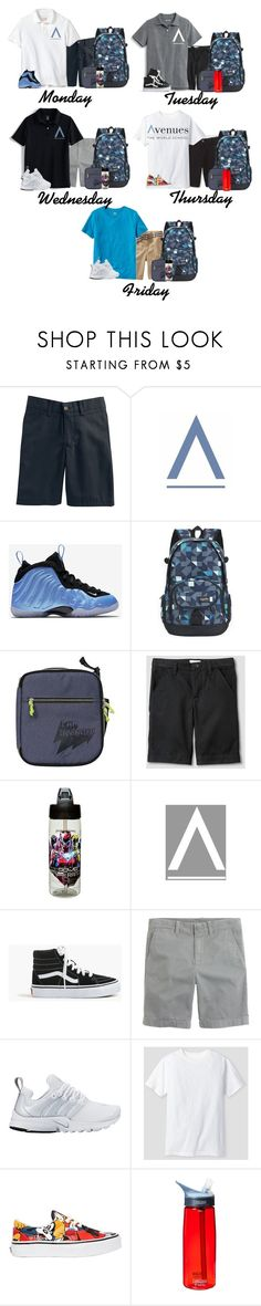 """""""Lake's School Week"""" by thetotefamily ❤ liked on Polyvore featuring Chaps, Lands' End, NIKE, Cat & Jack, Zak! Designs, Vans, J.Crew, CamelBak, Old Navy and men's fashion"""