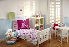 Toddler Bedding Set 4 Pc Girls Bedroom Decor Owl Sheet Comforter Pillowcase New…