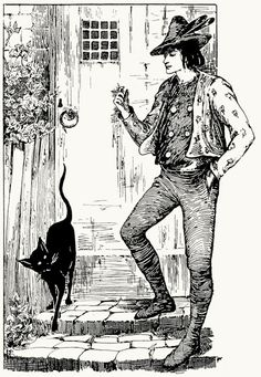 The parlour cat stood on the steps. Helen Stratton, from The fairy tales of Hans Christian Andersen, Philadelphia, circa 1899. (Source: archive.org)