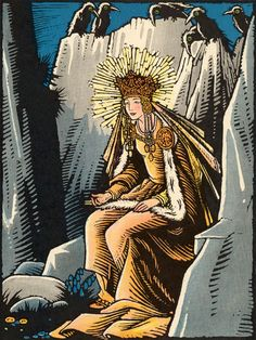 """sealmaiden:  """" """"Sitting there on a rock, as if it were a throne - the Queen!""""  The Magic Doll of Roumania, by Marie Queen of Roumania, Illustrated by Maud and Miska Petersham, Frederick A. Stokes, 1929  """""""