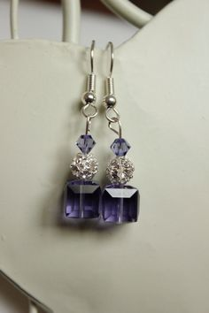 Purple crystal earings  Swarovski elements  by sorocodesigns