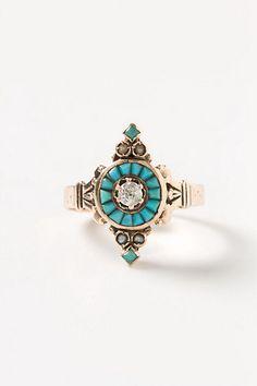 Diamond & Turquoise Ring - Anthropologie.com