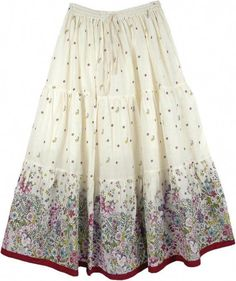 TLB - Spring Garden Cotton Floral Long Skirt for Women - Ivory Long Skirts For Women, Womens Maxi Skirts, Skirt Outfits Modest, Dress Skirt, Blouse Dress, Summer Business Casual Outfits, Summer Skirts, Skirt Fashion, Gypsy Fashion