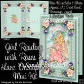 Girl Reading with Roses & Lace Decoupage Mini Kit