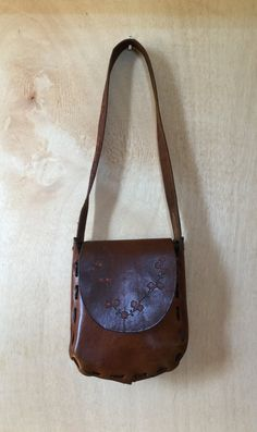 Vintage 1970s Cognac Brown Hand Tooled Leather by ForestaVintage