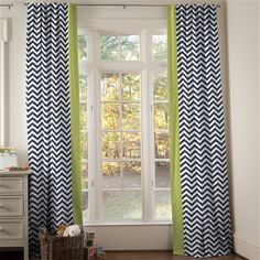 Navy and Citron Zig Zag Hidden Tab Drapes 84-Inch tall with Vertical Trim (Set of 2 Panels) 500x500 image