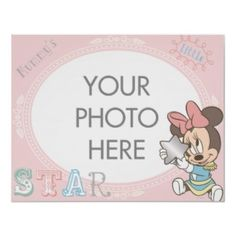 Cute Baby Minnie Mouse Customizable photo frame Poster
