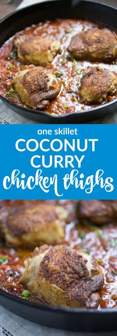 Coconut Curry Chicken Thighs (one skillet and paleo) | This Gal Cooks