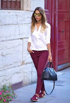 Discover this look wearing Zara Bags, Current Elliott Jeans, Comptoir Des Cotonniers Shirts tagged bds, sneakers - BURGUNDY by FadelaMecheri styled for Casual, Shopping in the Spring Outfits With Converse, Sporty Outfits, Fall Outfits, Vans Outfit, Burgundy Pants Outfit, Burgundy Sneakers, Moda Outfits, Outfits Mujer, New Balance Bordo