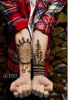 Lumberjack forest tattoo design #tattoosmensforearm