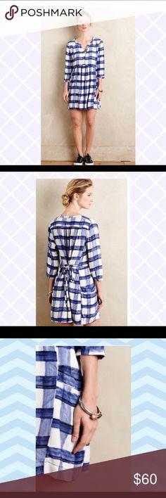 "1a1bd4037db Anthropologie Maeve Checkered Sapphire Shirtdress Pre Loved Anthropologie  Maeve Checkered Sapphire Shirtdress Women Sz Medium """