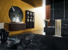 gold walls black floor and surfaces - Black Luxury Modern Bathroom