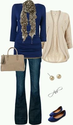 Business casual work outfit: Navy top, cream cardi, change the the jeans to navy pants Fall Winter Outfits, Autumn Winter Fashion, Fall Fashion, Winter Style, High Fashion, Fashion Trends, Mode Style, Style Me, Moda Fashion
