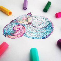 spacefox  #space #fox #galaxy #start #colorful #draw #drawing #dotwork #stabilo #sleepy #budapest #budapestagram