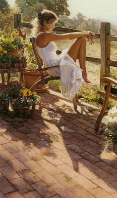 Artist: Steve Hanks {contemporary figurative female woman watercolor painting} <3 Relaxing !!