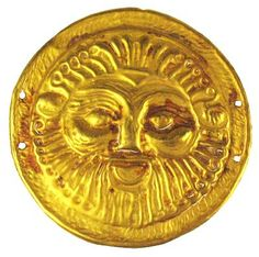 22K Gold medallion with the face of a bearded King. Two drill holes on each side for wearing. Probably belonged to a royal family. Persian 500 BC 1 1/2""