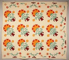Middle Tennessee quilt with orange & red flowers with green stems/leaves & purple vases on cream background. on May 2009 Old Quilts, Antique Quilts, Vintage Quilts, Mini Quilts, Colorful Quilts, Floral Quilts, Purple Vase, Two Color Quilts, American Quilt