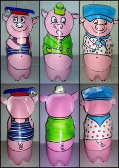 French Songs, Petite Section, Three Little Pigs, Story Time, 3 D, Fairy Tales, Diy Crafts, Bottle, Animals