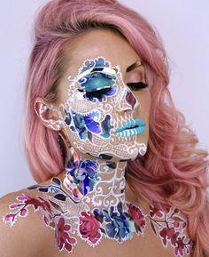 The Skulltress - Vanessa Davis Eye Makeup Art, Skull Makeup, Airbrush Makeup, Makeup Eye Looks, Cute Makeup, Pretty Makeup, Amazing Halloween Makeup, Halloween Looks, Helloween Make Up