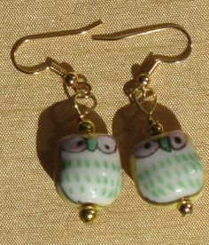 Darling Yellow Green and Gold Ceramic Owl by nevadawoodsjewelry, $10.00