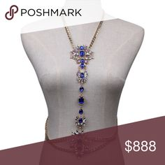 5 ⭐️ RATING BODY CHAIN NECKLACE Beautiful blue, iridescent faux gems, and rhinestones w gold chains. Neck chain is 25 inches. The double strand waist chain is 37 inches. New with tag. Jewelry Necklaces