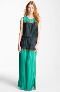 BCBGMAXAZRIA Pleated Colorblock Chiffon Maxi Dress