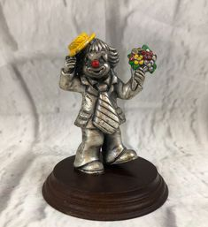 Pewter Clown Vintage Figurine On Wooden Platform Collectible Gift | Collectibles, Decorative Collectibles, Figurines | eBay!
