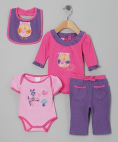 Take a look at this Pink & Purple Forest Friend Bodysuit Set by Duck Duck Goose on #zulily today!