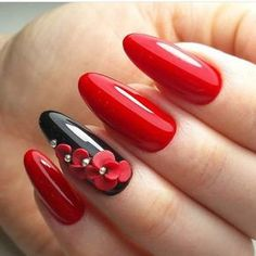 Red Nail Art for Valentines Day: Eclectic stories of Red, that& tastefully sophisticated Red nail designs for valentine's day are just perfect. If you love Nail art designs, then you would love to look at these Nail art ideas in Red for V Day. Red Nail Art, Red Art, Red Black Nails, Purple Nail, Black Art, Red Nail Designs, 3d Nails, Acrylic Nails, Gel Manicures
