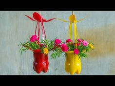 Plastic Bottle Planter, Plastic Bottle Flowers, Plastic Bottle Crafts, Recycle Plastic Bottles, Fun Diy Crafts, Upcycled Crafts, Flower Vase Making, Flower Pots, Pop Bottle Crafts