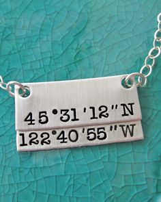 Longitude Latitude Sterling Silver Necklace- It happened Here - Portland, OR Oregon Rectangle Pendant With Numbers Earth