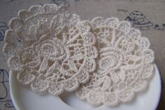 Beige Color Lace Doily Round Lace Cotton Flower by VeryCharms