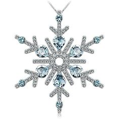 OUXI Snow flower New Design and Fashion Romantic Crystal Necklace... (180 RON) ❤ liked on Polyvore featuring jewelry, pendants, necklaces, charm pendants, pendant jewelry, crystal pendant jewelry, flower pendant and flower jewelry