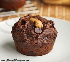 chocolate banana peanut butter lava muffins