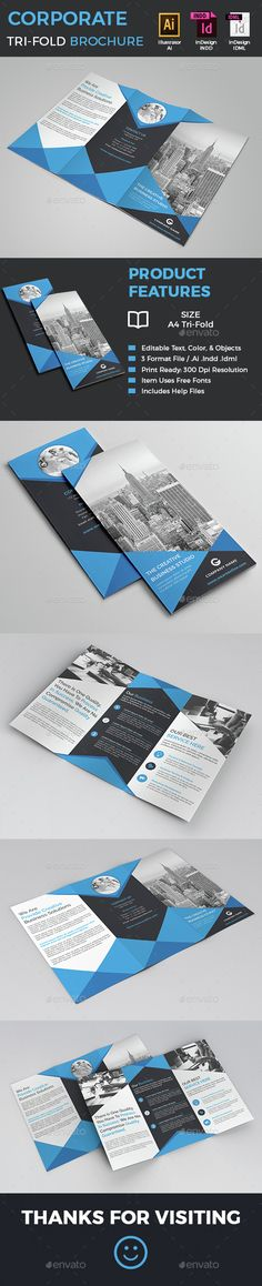 Corporate Tri-Fold Brochure Template INDD, Vector AI. Download here: http://graphicriver.net/item/corporate-trifold-brochure/15223810?ref=ksioks